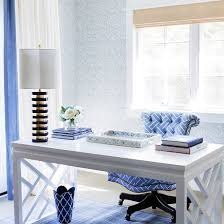 blue and white home office featuring a white chinoiserie desk the bungalow 5 bell desk blue office decor