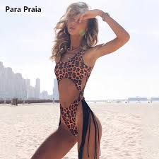2019 Leopard <b>One Piece Swimsuit</b> Sexy String <b>Hollow Monokini</b> ...