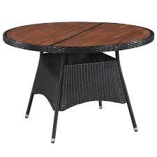 vidaXL <b>Garden Table 115x74</b> cm Poly Rattan and Solid Acacia Wood