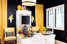 black and white office decor custom crafted drapes and chairs add a colorful punch to the black middot office