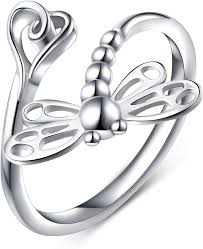 925 Sterling Silver Open Heart Dragonfly Rings for ... - Amazon.com