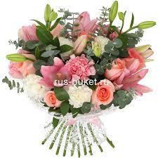 <b>Букет</b> «<b>Соло</b>» с розами, лилиями и гвоздиками - заказать и ...