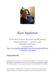 kym appleton cv 2015