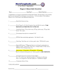 wtsda region  a completed region 9 black belt test checklist
