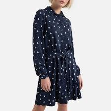 Платье-<b>рубашка короткая с</b> принтом в горошек в горошек/темно ...