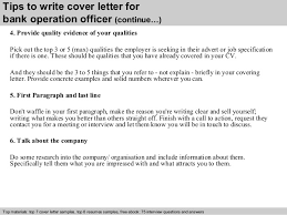 bank operation officer cover letter      tips to write cover letter for bank