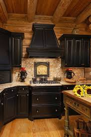cabinets uk cabis: log home in valle crucis featuring black cabinets with rub through