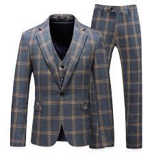 ( <b>Jacket</b> + <b>Vest</b> + <b>Pants</b> ) <b>2019</b> New <b>Men's</b> Fashion Boutique Plaid ...