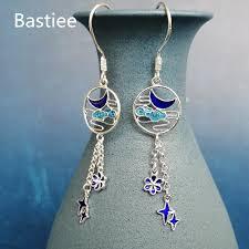 <b>Bastiee</b> Cloisonne Enamel Miao <b>999 Sterling</b> Silver Earrings For ...