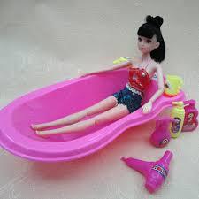 7 items 1pcs pink doll bathroom bathtub set 6pcs dolls toiletries hairdryers for 1 barbie dollhouse furniture cheap
