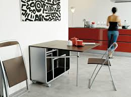 Small Dining Room Storage Modern Portable Folding Dining Table With Wheels And Folding Chair
