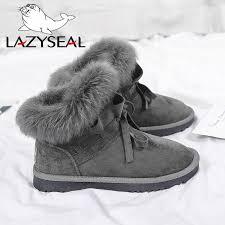 <b>LazySeal</b> 2019 <b>Shoes Women</b> Suede Real Rabbit Fur Winter Snow ...