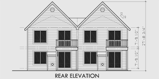 Two Story Duplex House Plans  Bedroom Duplex House Plans  D  House front drawing elevation view for D Two story duplex house plans  bedroom duplex