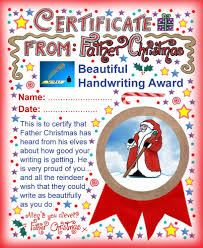 santa certificates rooftop post printables a printable award from father christmas saying well done for your beautiful handwriting