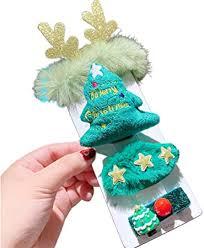 jumpXL <b>Christmas Glitter</b> Antlers <b>Cartoon</b> Stuffed Barrette Santa ...
