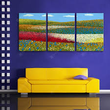 Special Design Frameless Paintings Flowers and Fields of 3PCS ...