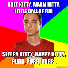 Soft kitty, warm kitty. Little ball of fur. Sleepy kitty, happy ... via Relatably.com