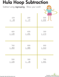 Hula Hoop: Three-Digit Subtraction with Regrouping   Worksheet ...Third Grade Subtraction Worksheets: Hula Hoop: Three-Digit Subtraction with Regrouping