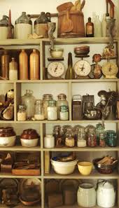 kitchen items store: use these type items to store my crafts in to make it look like a general store crocks firkins and vintage kitchen items such as canning jars mashers