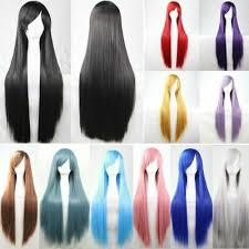 New 80cm <b>Straight</b> Sleek <b>Long</b> Full Hair Wigs w <b>Side Bangs</b> ...