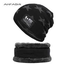 2019 New fashion <b>Brand</b> Men's <b>Winter Hat Scarf</b> 2 Pieces Set <b>Knit</b> ...