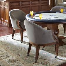 casual dining chairs with casters: quality poker chairs with casters amp custom leather ivey collection