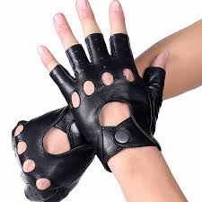 High Quality Mens <b>Genuine Leather</b> Gloves <b>Half Finger</b> Leather ...