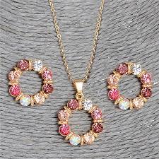 Hesiod 2 pcs/Set Gold Color <b>Sweet Pink</b> Round Circle Shape <b>Pink</b> ...