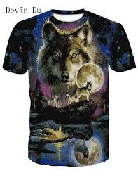 Men clothes <b>2019 Newest Harajuku Wolf</b> 3D Print Cool T shirt Men ...