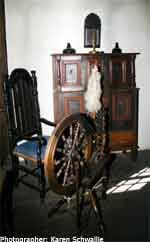 Anna Daggett ran the home and cared Daggett Farmhouse for the family. Anna prepared and preserved food, spun yarn, made clothing, towels and sheets, ... - daggett7