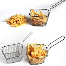 1/10PC Portable <b>Stainless Steel Chips</b> Mini Frying Basket Strainer ...