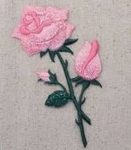 Open - Buds on Stem - <b>Iron on</b> Applique/<b>Embroidered Patch</b>