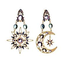 Exaggerated Luxury Sun Moon Stars Drop Earrings ... - Amazon.com