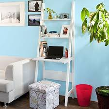 with a ladder like appearance the desk complete with two shelves stands against a wall for a modern and comfortable office two shelves for storing avenue greene grey ladder storage office wall