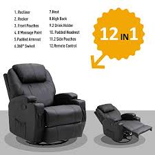 HOMCOM <b>Faux</b> Leather Heated <b>Massage Recliner</b> Chair with Remote