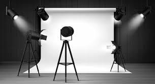 Free Vector | <b>Photo studio</b> with white <b>panel</b> and spotlights