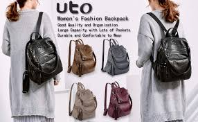 UTO Women Backpack Purse PU Washed Leather ... - Amazon.com