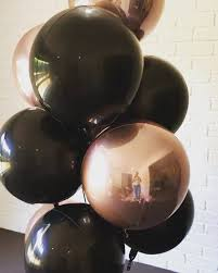 Stunning <b>black and rose</b> gold balloon cluster by diystyle. www ...