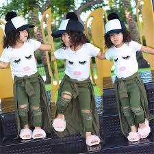 <b>US Stock Toddler</b> Kid Baby Girls Eyelash Tops T-shirt Hole Pants ...