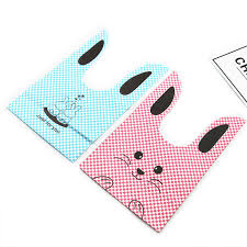 <b>50Pcs</b>/<b>Lot</b> Pink and Blue <b>Cute Rabbit</b> Cookie Bags Plastic Candy ...
