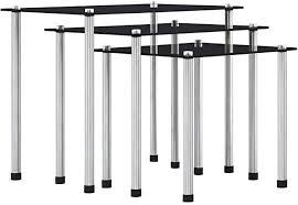 FAMIROSA <b>Nesting Tables 3 pcs</b> Black Tempered Glass: Amazon ...
