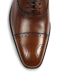 Ferragamo Neiman Marcus Ferragamo Casey Cap Toe Pebbled Leather Brogue Oxfords Brown