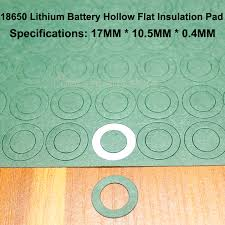 <b>100pcs</b>/<b>lot 18650 lithium battery</b> anode hollow flat insulation gasket ...