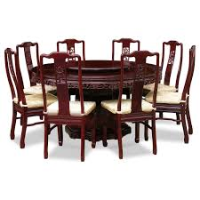 Chinese Dining Room Table Chinese Wood Carved Round Dining Table With 8 Foamy Seats Chairs