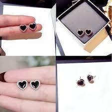 <b>Womens</b> Cute Stud Sapphire CZ <b>Rose Heart Black</b> Earrings <b>Fashion</b> ...
