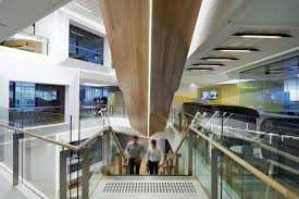 converging lines pierce the floor plate and guide the layout of each level anz melbourne office