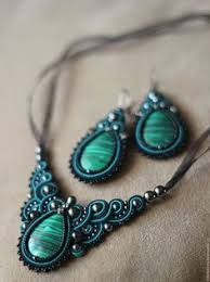 Soutache pendant, Green and gold pendant with labradorite ...