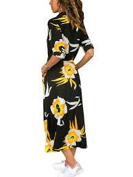 <b>Floral</b> Maxi Dress <b>Women Long</b> Sleeve Sash Turndown Collar ...