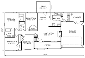 Beautiful Modern four bedroom ranch house plans for Hall  Kitchen    Modern four bedroom ranch house plans