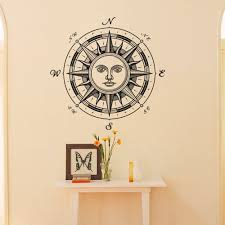 sun wall decal trendy designs: wall decal nautical compass rose ethnic sun symbol wall decor window wall stickers living room